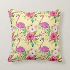 Shop Pretty flamingo patterned throw pillow created by TWArts. Camping Pillows, Camping Chairs, Floral Throws, Floral Throw Pillows, Flamingo Gifts, Flamingo Pattern, Pink Bedding, Pink Flamingos, Custom Pillows