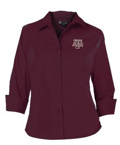 Texas A&M Aggies Burgundy Twill 3/4 Sleeve Ladies Button Down Shirt - Size Medium