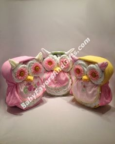 Unique Diaper Cakes, Baby shower gifts, centerpieces, table decorations, favors: Kooky-Owl Diaper Cake                                                                                                                                                      Más