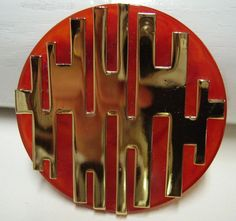 Vintage LANVIN Lucite and Metal Brooch by Vintageables on Etsy, $595.00