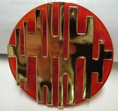 Vintage LANVIN  Lucite and Metal Brooch
