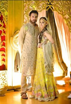 Pakistani mehndi bride and groom