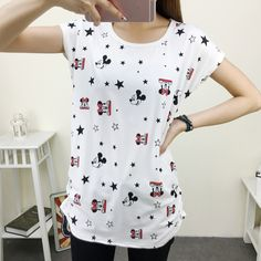 Item Type: Tops Tops Type: Tees Gender: Women Style: Fashion Collar: O-Neck Material: Acrylic,Polyester Fabric Type: Broadcloth Decoration: None Pattern Type: Print Sleeve Length: Short Model Number: