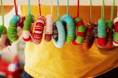 Handmade Yarn Wreath Ornaments