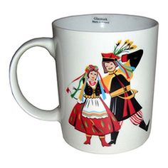 Polish Krakow Dancer/ Paper-Cut-Out Wycinanki Ceramic Mug