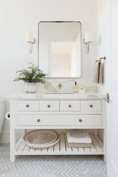 cottage bathroom design with herringbone tile floor and white bathroom vanity, modern farmhouse master bathroom design, neutral bathroom design ideas, Custom vanity with marble countertops California Traditional Interior Design Bathroom Interior, Modern Bathroom, Small Bathroom, Bathroom Ideas, Bathroom Vanities, Bathroom Designs, Single Bathroom Vanity, Bathroom Remodeling, White Bathrooms