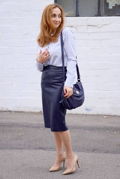 Navy blue Faux Leather Skirt Outfit | Any Colour You Like ...