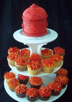 Hydrant Cake & Fire Cupcake Tower | Shared by LION