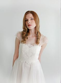 Clothilde, lace wedding top separate. Great idea to give yourself 2 different looks on your wedding day. Ceremony with lace top...without for reception.