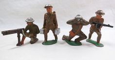 Set of 4 Manoil Barclay U S Soldiers Dime Store No Reserve Lead Soldiers, Toy Soldiers, Retro Toys, Vintage Toys, Home Guard, Old Toys, Toy Boxes, Wwii, Diecast