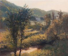 """""""Summer Light, Vermont, 20"""" x 24"""". Barton Vermont. This hazy warm, humid light is such a pleasure to paint. Hot as hell but the buttery light is heaven to me."""