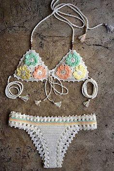 Pretty Pastels! Pastel Flower Pattern Halter Crochet Bikini Set #Floral #Pastel #Lace #Crochet #Bikini #Fashion: Crochet Designs, Crochet Patterns, Crochet Bikini, Crochet Top, Estilo Hippie, Floral Bikini, Crochet Squares, Crochet Accessories, Needle And Thread