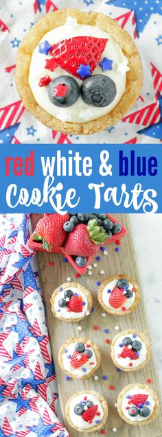 Red White and Blue Cookie Tarts - Foodtastic Mom Fourth Of July Food, 4th Of July Party, July 4th, Patriotic Party, Oreo Dessert, Summer Recipes, Holiday Recipes, Holiday Treats, Holiday Fun