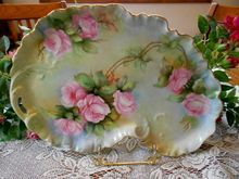 Exquisite Limoges 1913 Ruffled Rim Dresser Tray; Stunning Roses