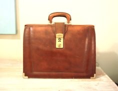 LARGE Mid Century LEATHER BRIEFCASE Leather Worn by lavibohemme