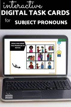 Have you tried BOOM Cards with your students? They're digital and self-checking, which means students get instant feedback, and you don't have to grade! They're self-grading! Your students can read, listen, and write to get practice! This set is perfect for your middle school and high school Spanish classes as they study subject pronouns! It's the perfect activity for homework, review, or even formative assessment! Click to see more and to try it out! Middle School Spanish, Spanish Lesson Plans, Spanish 1, Formative Assessment, Interactive Cards, Spanish Classroom, Class Activities, Task Cards, Homework