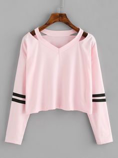 Cut Out Neck Varsity-Striped TeeFor Women-romwe - Cut Out Neck Varsity-Striped TeeFor Women-romwe Source by mazzillus - Cute Comfy Outfits, Cute Girl Outfits, Trendy Outfits, Cool Outfits, Tomboy Outfits, Girls Fashion Clothes, Teen Fashion Outfits, Pink Clothes, Mode Grunge