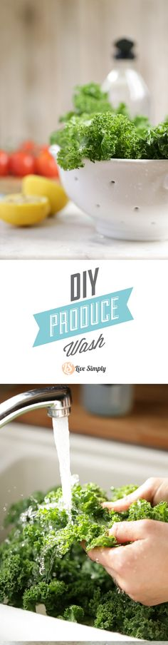 Wash fruits and veggies naturally and for just pennies with this three ingredient DIY produce wash. Wash off pesticides and bacteria with this simple homemade wash.