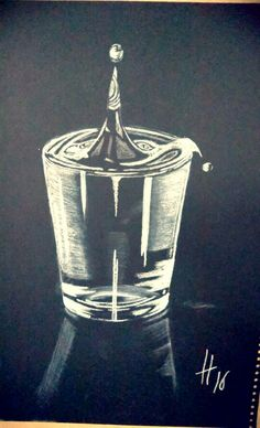 ''Last drop''  White charcoal pencil on black paper