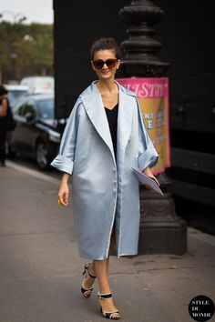 oversized silk coat with black top