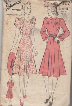 Vintage Advance Day Dress Sewing Pattern Bust 30