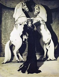 Man Ray: The Marquise Casati with Horses, 1935.