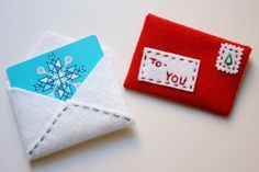 DIY felt gift card holder - fairly easy and they look way nicer than the ones you pay $5 extra for at the store!  | Tutorial at Paper & Stitch