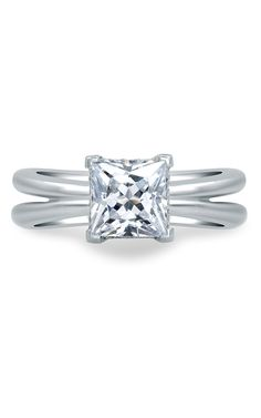 Princess cut diamond engagement ring with double banded split shank in white gold -- A. Jaffe Seasons of Love MES676-81  Available at BENARI JEWELERS.