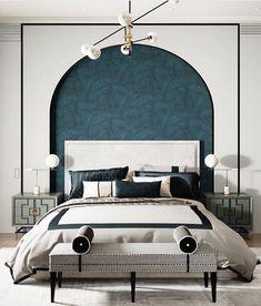Bedroom Color Schemes, Bedroom Colors, White Bedroom, Modern Bedroom, Master Bedrooms, Bed Design, House Design, Design Bedroom, Restaurant Interior Design