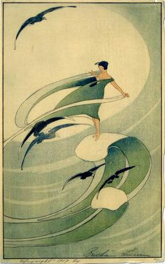 Bertha Lum Woodblock prints (Estampes) :: Wind Sprite 1917. This print has greener shades than the one of the SF museum; it dates from 1917