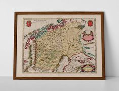 Historical Map of Lapland, originally created by Willem Janszoon Blaeu, now available as a 'museum quality' Gift print. Old World Maps, Vintage World Maps, Historical Maps, Travel Posters, Giclee Print, Create Yourself, Museum, Prints, Printmaking