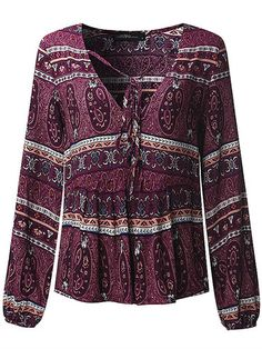 Bohemian Women V-neck Floral Printed Loose Long Sleeve Shirts Online - NewChic Mobile.