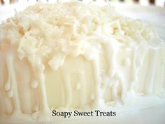 Handmade soap with fancy cut shredded coconut from Soapy Sweet Treats.