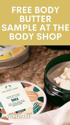 GRAB A FREE BODY BUTTER SAMPLE AT THE BODY SHOP!! NEW Body Butters seriously nourish all skin types. Now made with 95% ingredients of natural origin. Try this non greasy body butter for 96hr moisture. It even gives you a natural-looking glow. The Body Shop, Free Samples, Body Butter, Moisturizer, Glow, Vegan, Natural, Shopping, Moisturiser