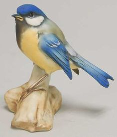 """Tay PorcelainTay Figurine: Eurasian Blue Tit on Branch (mislabeled """"Chickadee"""" on the site this is from)"""