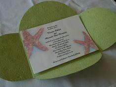 Starfish Wedding Invitations, Handmade Beach Wedding Invitations