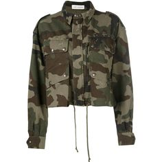 Faith Connexion camouflage cropped jacket ($1,310) ❤ liked on Polyvore featuring outerwear, jackets, green, brown cropped jacket, camo print jacket, green camo jacket, camoflage jacket and green jacket