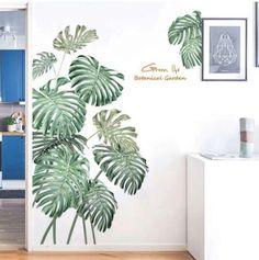Decal Wall Art, Wallpaper Decor, Diy Flowers, Plant Wall, Wall Stickers Leaves, Vinyl Decals, Mural, Wall, Wall Murals Diy