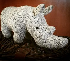 Thandi the African Flower Rhino. Pattern by Heidi Bears. Made by mica crochet