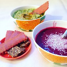 Cold beetroot + ginger soup, rosemary crackers and spicy guacamole.