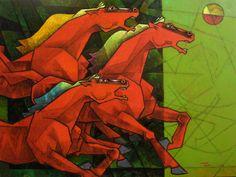 Dinkar-Jadhav-Wild Stallions #Acrylic on #Canvas #Paintings #Eikowa #Arts #IndianArts #Online EK-0005-AC-0018-48x36