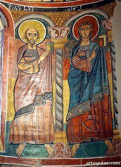 Iglesia de Santa María de Taüll. Maiestas Mariae, Alta Ribagorça Lleida Catalonia Pinturas del ábside: San Pablo y San Juan
