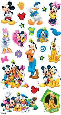 EK Tools Mickey And Friends Flat Scrapbooking Stickers - Disney. Mickey Mouse scrapbooking stickers featuring Minnie Mouse, Donald Duck, Goofy and Pluto. Have a