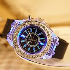 Cheap Personality Rhinestone Luminous Colored Lights Watches For Big Sale!Personality Rhinestone Luminous Colored Lights Watches, belt is durable silicone and dail surface is glass, nice match and nice looking. Simple Watches, Cute Watches, Retro Watches, Cheap Watches, Vintage Watches, Watches For Men, Women's Watches, Elegant Watches, Wrist Watches