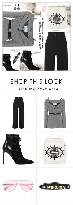 """""""When I close my eyes"""" by frenchfriesblackmg ❤ liked on Polyvore featuring Veronica Beard, Prada, Yves Saint Laurent, Kendall + Kylie, Oliver Peoples and Oscar de la Renta"""