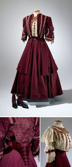 Traveling suit, B. Altman & Co. (retailer), 1905. Wool, velvet, and lace. Three pieces. Marjorie Merriweather Post wore this to Hot Springs, Virginia, for her honeymoon in 1905. Photos: Edward Owen. Hillwood Museum