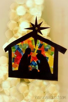 How precious is this preschool or early elementary nativity craft? Looks beautiful hung in a window with light streaming through!