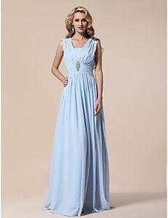 TS Couture® Prom / Formal Evening / Military Ball Dress - Elegant Plus Size / Petite Sheath / Column V-neck Floor-length Chiffon withDraping /