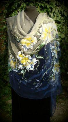Natural silk shawl floral butterfly cobweb by Studijakalla