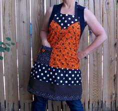 Halloween ApronOrange and BlackWomans Full by SusiesTieOneOnAprons, $29.00